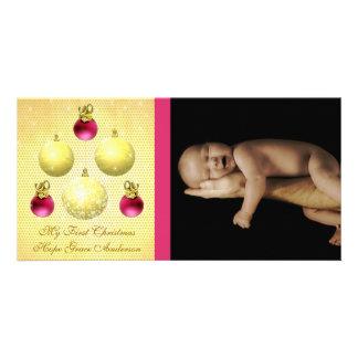 L'or et la prune ornemente ma ?ère photo de bébé photocarte personnalisée