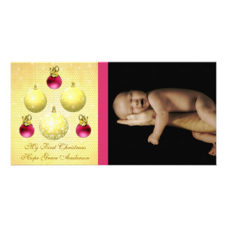 L'or et la prune ornemente ma ?ère photo de bébé photocarte
