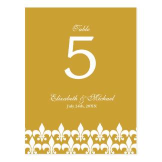L'or et White Fleur de Lis Wedding ajournent le Cartes Postales