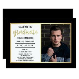 L'or lisse et noircissent la photo licenciée du carton d'invitation  12,7 cm x 17,78 cm