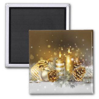 L'or mire des vacances élégantes de Noël Magnet Carré