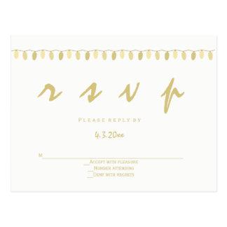 L'or moderne allume des cartes postales de rsvp de