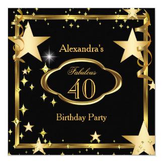 L'or noir élégant fabuleux tient le premier rôle carton d'invitation  13,33 cm