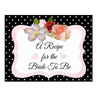 L'or noir et rose rougissent carte rose de recette