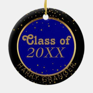 L'or pointille la classe bleue du souvenir ornement rond en céramique