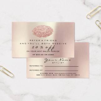 L'or rose de maquillage de carte de référence de