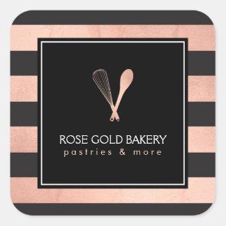 L'or rose rayé Luxe battent la boulangerie II de Sticker Carré