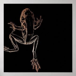 L'or s'élevant de rose de rose de grenouille posters