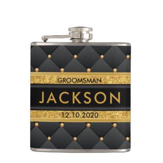 L'or sophistiqué et Groomsman noir/équipent mieux Flasques