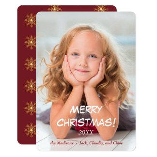 L'or tient le premier rôle Noël moderne rouge Carton D'invitation 12,7 Cm X 17,78 Cm