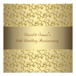 L'or tourbillonne fête d'anniversaire de mariage d invitations