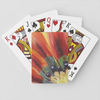 L'orange laisse à détail floral les cartes de jeu jeux de cartes