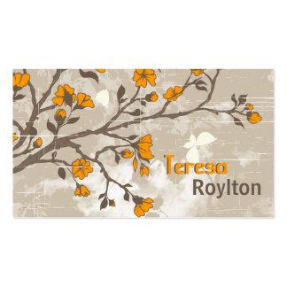 L'orange vintage fleurit le taupe grunge floral cartes de visite personnelles