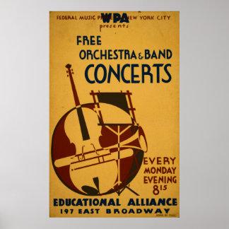 L'orchestre libre concerte le poster vintage 1938