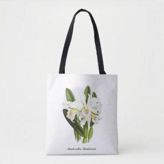 L'orchidée blanche fleurit le sac fourre-tout
