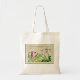 L'orchidée d'impression de Japonais fleurit le sac