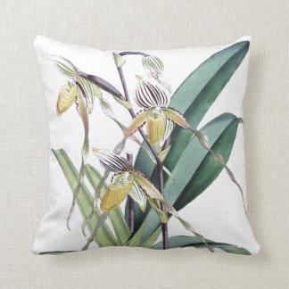 L'orchidée tropicale botanique vintage fleurit coussin