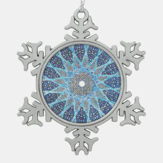 L'Orient bleu Ornement Flocon De Neige Pewter