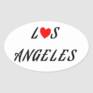 Los Angeles coeur rouge Sticker Ovale