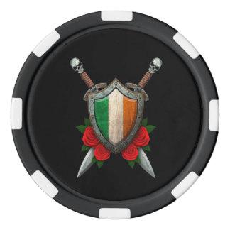 Lot De Jeton De Poker Bouclier et épées irlandais usés de drapeau avec