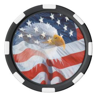 Lot De Jeton De Poker Eagle chauve patriotique au-dessus du drapeau