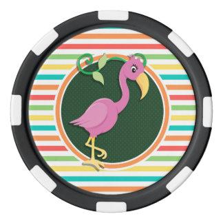 Lot De Jeton De Poker Flamant rose sur les rayures lumineuses
