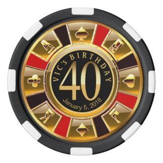 Lot De Jeton De Poker L'anniversaire de Vic quarantième
