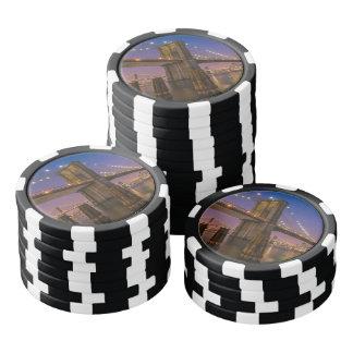 Lot De Jeton De Poker Pont de Brooklyn la nuit à New York City