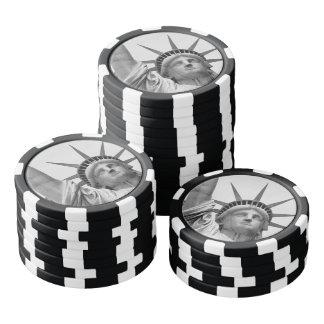 Lot De Jeton De Poker Statue de la liberté noire et blanche