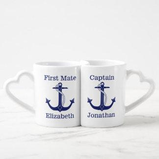 Lot De Mugs Couple de capitaine nautique et de premier