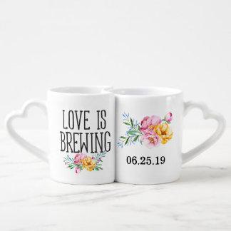 Lot De Mugs L'amour floral d'aquarelle brasse le mariage