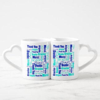 Lot De Mugs Nuage de mot de Merci de bleu et de turquoise