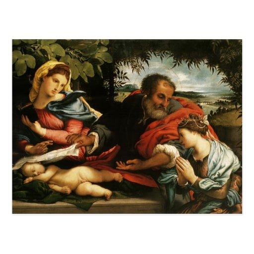 Loto de Lorenzo la famille sainte avec St Catherin Cartes Postales