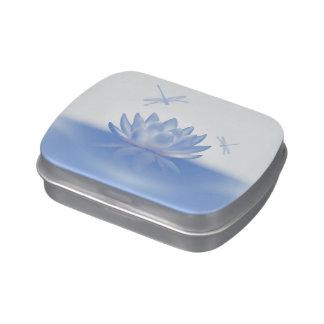 Lotus bleu et étain de sucrerie de libellules boites jelly belly