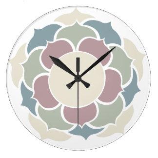 Lotus pastell grande horloge ronde