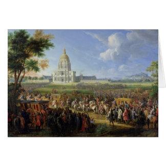 Louis XIV son entourage visitant Les Invalides Carte De Vœux