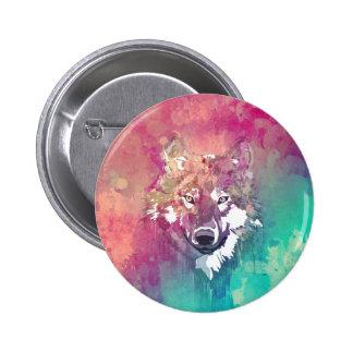 Loup abstrait artistique d'aquarelle rose de badge