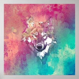 Loup abstrait artistique d'aquarelle rose de turqu poster