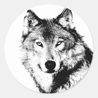 Loup Autocollants Ronds
