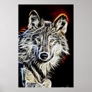 Loup brillant de Fractalius Poster