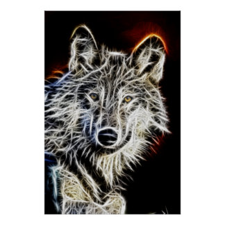 Loup brillant de Fractalius Posters
