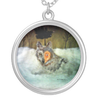 Loup courageux pendentif rond