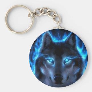 Loup de fantôme de nuit porte-clé rond
