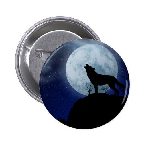 Loup de pleine lune badges avec agrafe