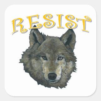 Loup de résistance sticker carré