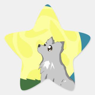 Loup délabré mignon avec la lune stickers en étoile