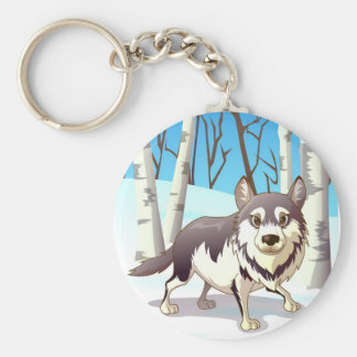 Loup d'hiver porte-clé rond
