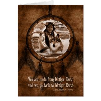 Loup et Dreamcatcher de jour de Natif américain Carte De Vœux