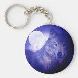 Loup et lune porte-clé rond