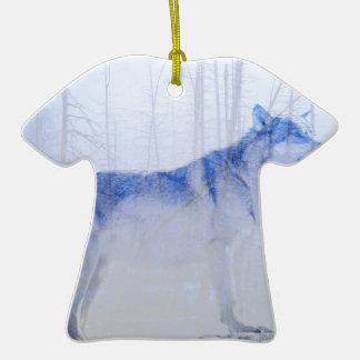 Loup exposé ornement t-shirt en céramique
